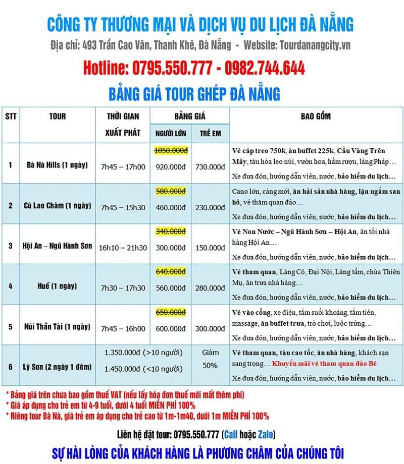 Giá vé tour du lịch Đà Nẵng trong ngày rẻ nhất.